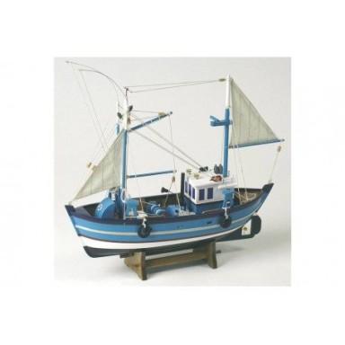 barco de pesca azul decoracin