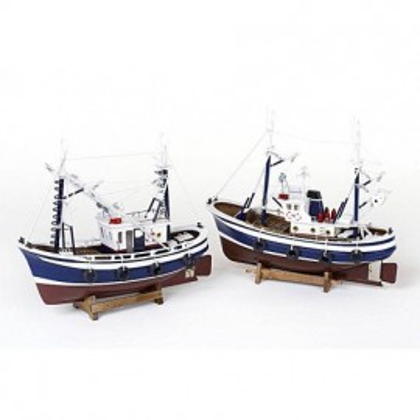 Pesqueros Azules Decoración Náutica (2u)