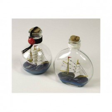 Barcos En Botella Redondas Decoración