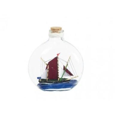 Barco En Botella Pintado a Mano Decoración