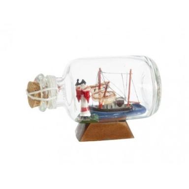 Barco y Faro En Botella Decoración