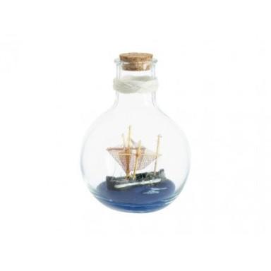 Barco con Redes En Botella Decoración