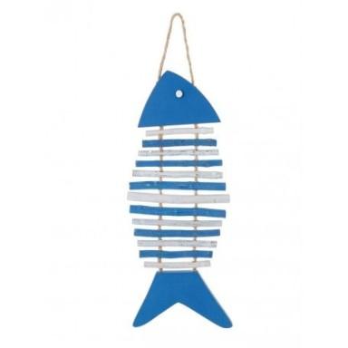 Pez Azul Espinas Madera Decoración (2u)