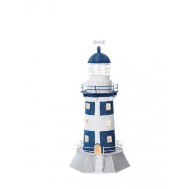 Faro Vela Azul y Blanco Decoración