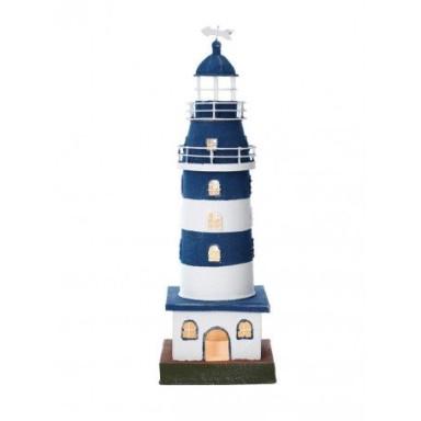 Lámpara Faro Hojalata Blanco y Azul Decoración