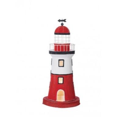 Lámpara Faro Blanco y Rojo Decoración