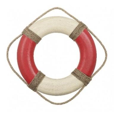 Salvavidas Rústico Grande Rojo y Blanco