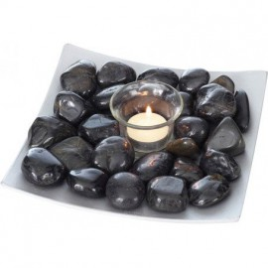 Bandeja Piedras negras con Portavelas Decoración