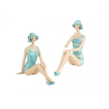 Figura Decoración Pareja Bañistas Sentadas Sombrero