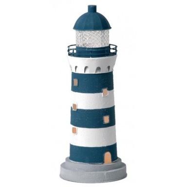 Faro Marinero Vela Decoración Rayas Azul Blanco