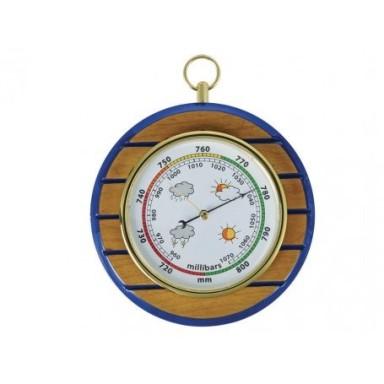 Barómetro Madera Rayas Azules