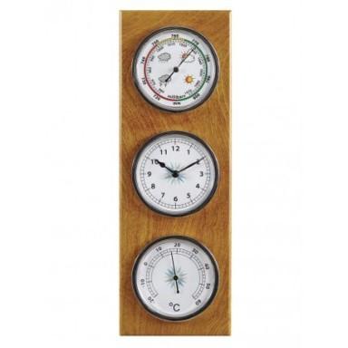 Estación Meteorológica Barómetro Termómetro Reloj Madera