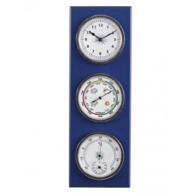 Estación Meteorológica Barómetro Termómetro Higrómetro Reloj Azul