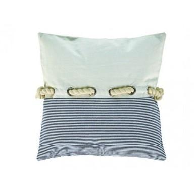 Cojín Cuadrado Blanco Rayas Azules (2u)