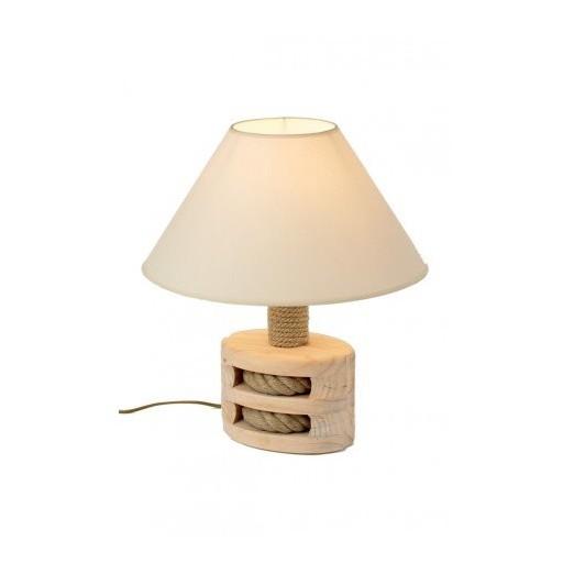 Lámpara Decorativa Polea Madera Oscura
