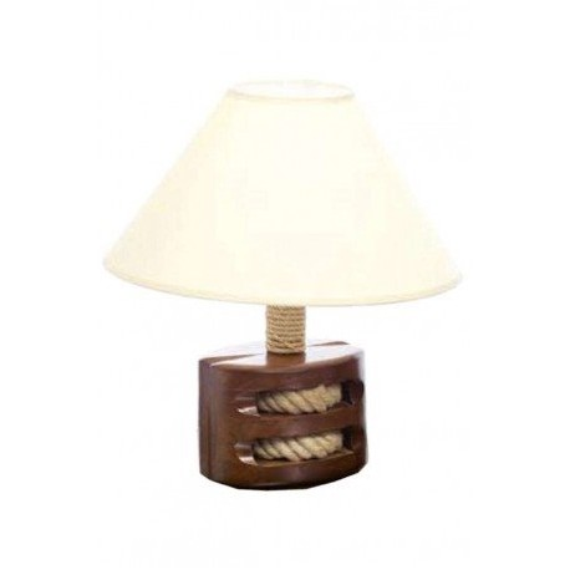 Lámpara Decorativa Polea Madera Natural