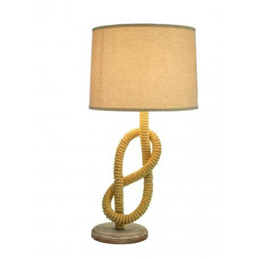 Lámpara Náutica Cuerda Cáñamo Base Madera