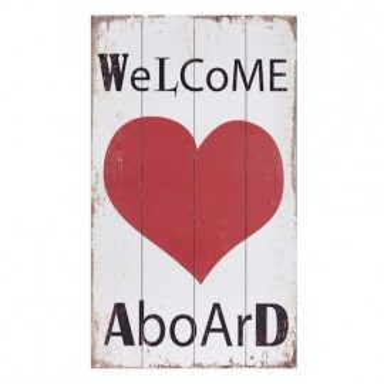 Placa Madera Welcome Aboard Corazón