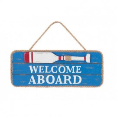 Placa Madera Welcom Aboard