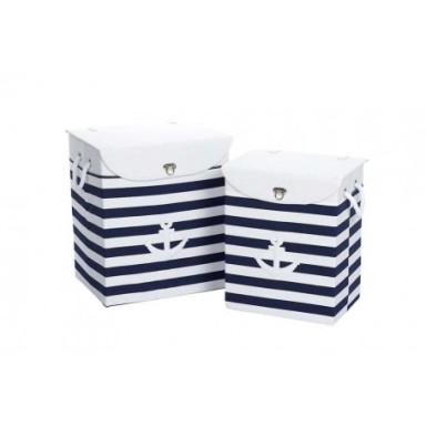 Conjunto Cesta Ropa Rayas Azul Blanco