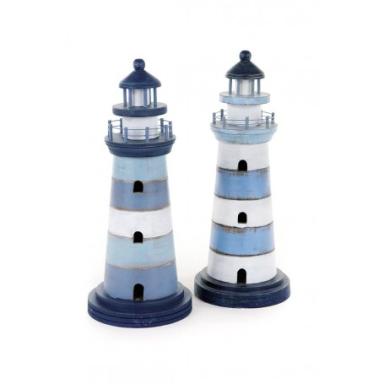 Faro Marítimo Decorativo Madera Tonos Azules