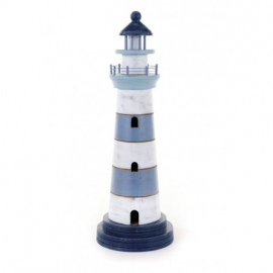 Faro Marítimo Decorativo Madera Azules y Blanco