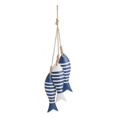 Colgante Peces Decorativo Rayas Azul Blanco
