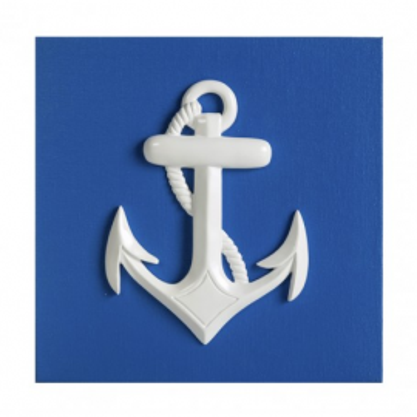 Cuadro Azul Con Ancla (1u)