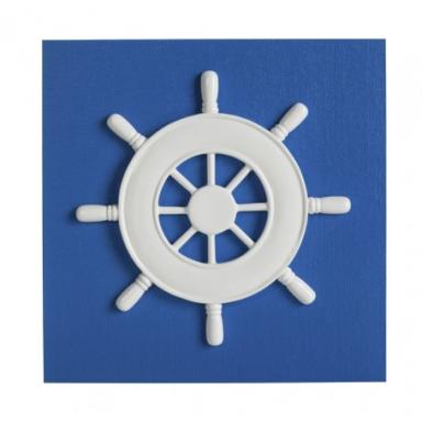 Cuadro Azul Con Timón (1u)
