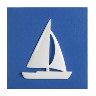 Cuadro Azul Con Velero (1u)