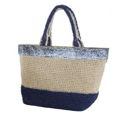 Bolsa Tipo Capazo Con Franja Azul