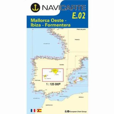 Carta Náutica Navicarte E02 Mallorca Oeste Ibiza y Formentera