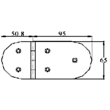 Bisagra Pasador Sobrecubierta 145,8x65mm