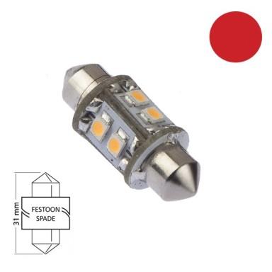 Bombilla Navegación LED Festoon 31mm Roja