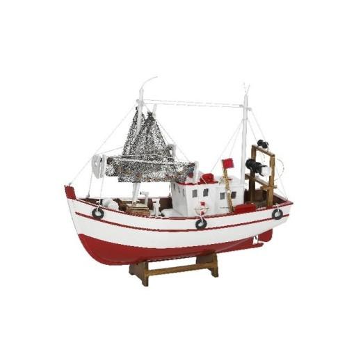 Barco De Pesca Antiguo Blanco Y Rojo