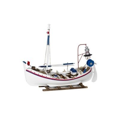 Barca Blanca Madera Decoración Náutica (1u)