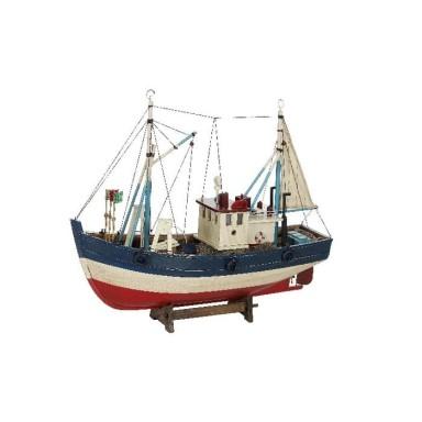 Barco De Pesca Antiguo Azul y Rojo