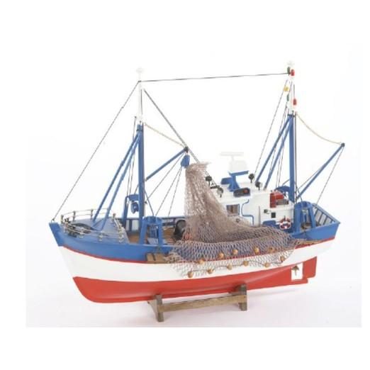 Barca Antigua Decoración Rayas Rojas