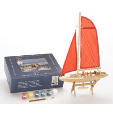 Barco De Vela Rojo Decoración