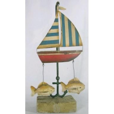 Barco De Vela y Peces Decoración