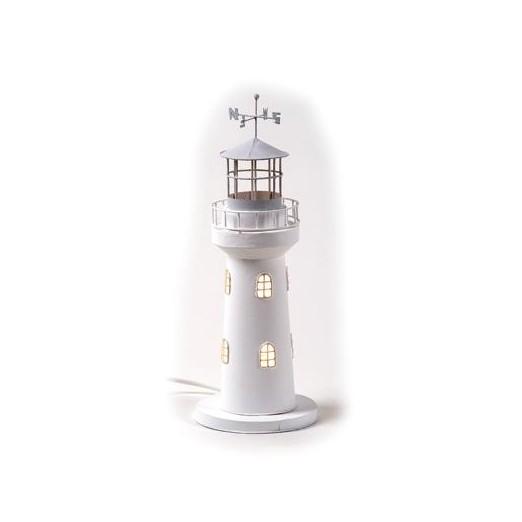 Faro Decoración con Luz Blanco Cilindrico